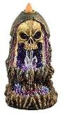 """Fantasy Gifts Geode Skull Back Flow Incense Burner w/LED - 6.5"""""""