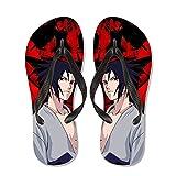 Naruto: Uchiha Sasuke, chanclas masculinas y femeninas, chanclas de dibujos animados, zapatillas de vacaciones de playa, sandalias de dibujos animados, zapatillas al aire libre, chanclas de secado ráp