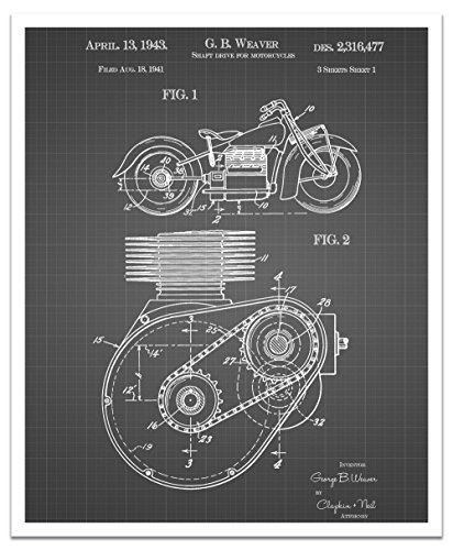 JP London posjsg37Steampunk Zahnrädern Antriebswelle Motorrad Motor Art schälen und Stick Vintage Schwarz Grid Poster Patent Art, schwarz/weiß Gitterlinien, 61x 50,2cm