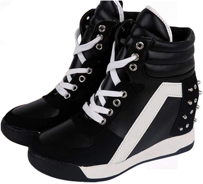 NOMIMAS Hidden Wedge Casual shoes Fashion Rivets Patchwork Women Sneakers Comfortable Platform Lace Up Women shoes