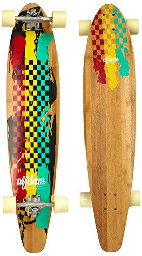 Nijdam Longboard Kicktail Bamboo II, Rot/Gelb/Gr&uumln, One Size/42 Zoll