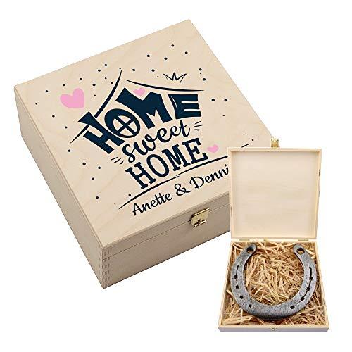 4you Design Personalisierte Hufeisen-Box mit Motiv Home Sweet Home - Glückshufeisen/Glücksbringer - Geschenkidee zum Umzug - Einzugsgeschenk