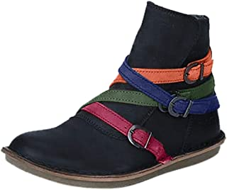 Womens Round Toe Ankle Boots,Cross Belt Buckle Flat Shoes Boots Large Size New