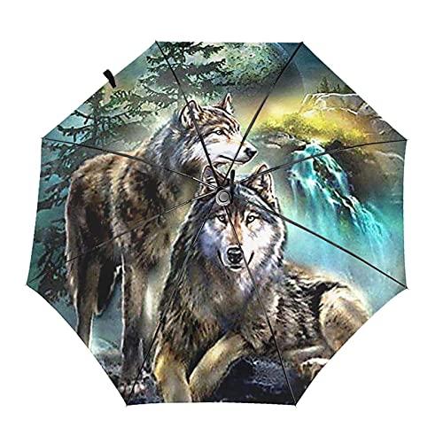 Animal Wolf Automatischer, dreifach faltbarer Regenschirm schützt Sonnenschutz, stabil, winddicht, bedruckt, leicht, Regenschirme für Mädchen zum Wandern, Außendruck, Innendruck, Einheitsgröße