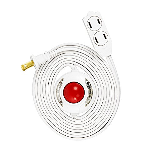 Uninex PS52FNSKU Lighted Foot Switch Extension Cord With AC 3-Outlet, Safety Covers, UL Listed, White, 9-Foot