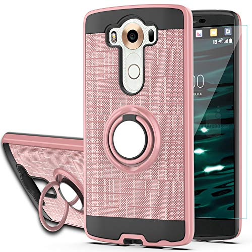 YmhxcY Phone Case Compatible with LG V10 Case with HD Phone Screen Protector,360 Degree Rotating Ring & Bracket Dual Layer Resistant Back Cover for LG V10-ZH Rose Gold