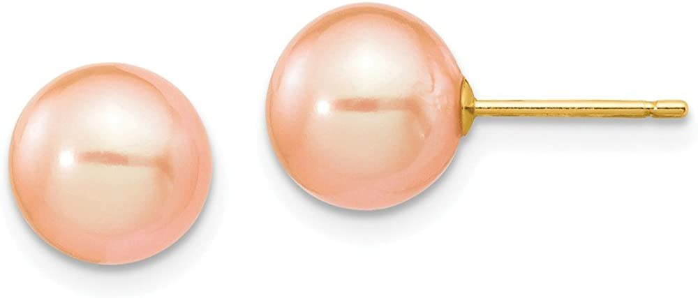 Solid 14k Yellow Gold 8-9mm Pink Round FW Cultured Pearl Stud Earrings