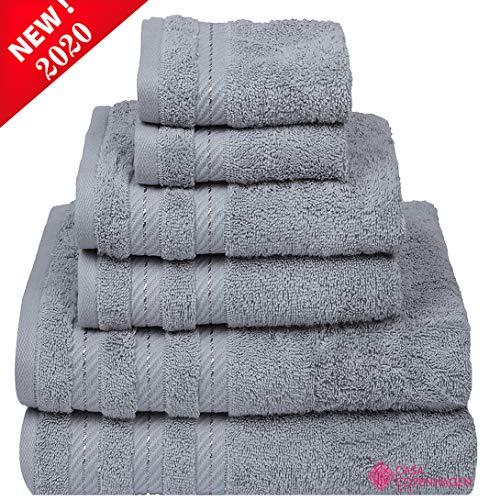 CASA COPENHAGEN Denmark Soft Linen Premium, 6 Piece Kitchen and Bathroom Egyptian Cotton Towel Set, [Worth $72.95] -'Grey Violet (2 King Size Bath Towel, 2 Hand Towels, 2 Face Towels, 2 Face Towels