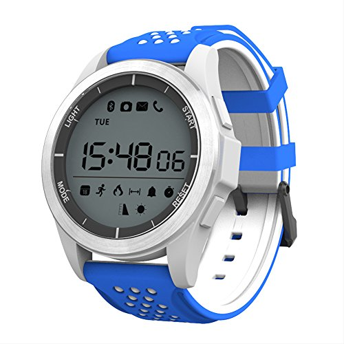 NO.1 F3 Sports Smartwatch Bluetooth 4.0 IP68 cámara remota a prueba de agua recordatorio sedentario Sleep / Call Monitor podómetro (Azul/Blanco)