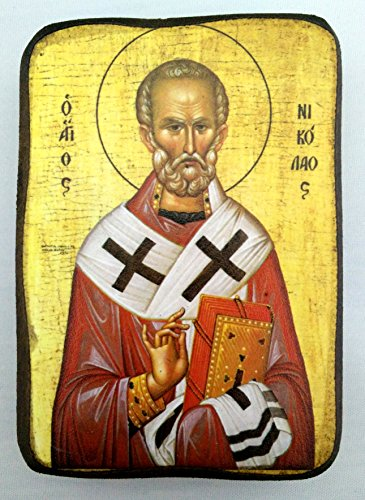 Holz Griechisch Christian Orthodoxe St. Nikolaus-Holz Icon/A0