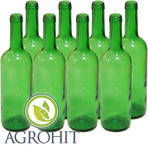 Botellas de vino, 8 unidades, color verde claro, 0,75 litros, 30 cm