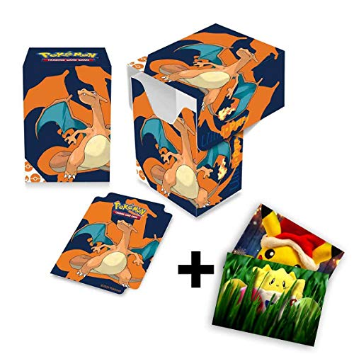 Lively Moments Pokemon Karten Ultra-PRO Deck Box mit Glurak-Motiv + Exklusive GRATIS Grußkarte
