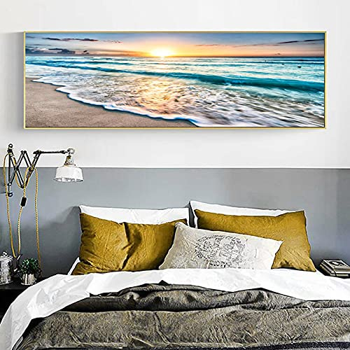 Lienzo de pintura de la ola del mar, puesta de sol, amanecer, paisaje, carteles, imágenes artísticas de pared, impresión, sala de estar, dormitorio, oficina, decoración del hogar-40x150cm sin marco