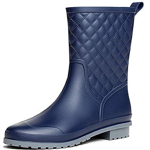 SAGUARO Botas de Agua Mujer Jardín Trabajo Lluvia Botas Antideslizante Wellington Boots Impermeable Media Pierna Bota de Goma, Azul 37