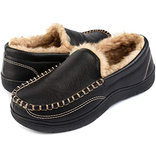 ULTRAIDEAS Men's Cozy Memory Foam Moccasin Slippers with Fuzzy Fur Lining, Closed Back House Shoes with Anti-Skid Rubber Sole ( Black , Size 10 )