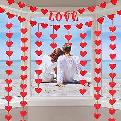 CDLong 96pcs Red Hearts Felt Valentines Decorations