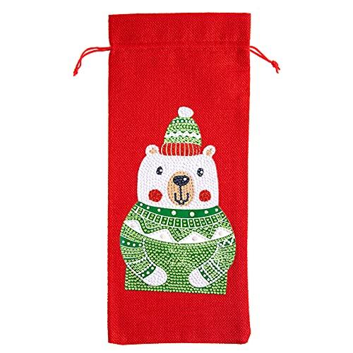 CRGANGZY Bolsas para Botellas y Vino navideñas para Bricolaje, Taladro Especial con Pintura de Diamante Cubiertas para Botellas de Vino navideñas, Bolsas para Botellas y Vino (TB002A)