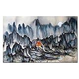 WSHIYI Imprimir Lienzo Pintura montaña Abstracta caligrafía China Tradicional sobre Lienzo Imagen de Pared para Sala de Estar sofá decoración del hogar-60x90cm sin Marco
