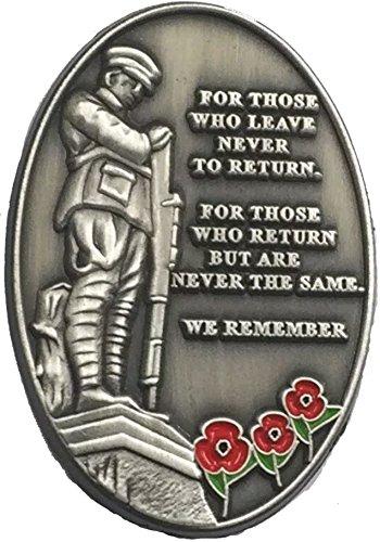 Badges For Those Who Leave Never Return Soldier czerwony kwiat szpilka