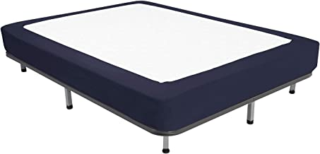 Box Spring Cover - Sleek Alternative for Bed Skirts, Elastic Wrap Around - Full, Navy
