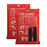 Fire Blanket Fire Guardian Blanket and Fire Blanket Fire Suppression Blankets for Kitchen, Bedroom, People- Energency Safety (40'x40') (White (2 Pack))