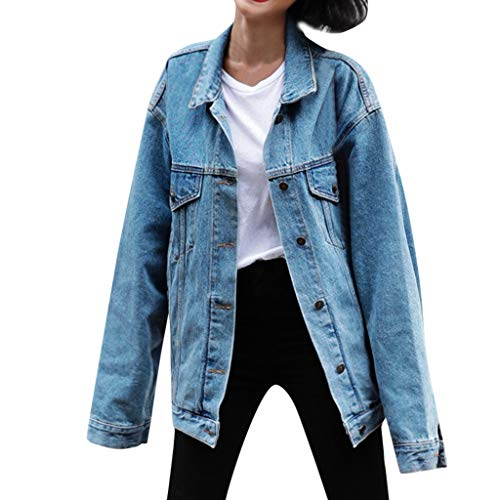 KANGMOON Jacken Damen Frauen Lose Langarm Jeans Mantel Retro Cowboy Denim Lose Freizeitjacke Winterjacke Trenchcoat PlüSchjacke Strickjacke Jacke Windjacke