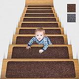 MBIGM 20cm X 76cm (Paquete de 15) Alfombras Antideslizantes Peldaños de Escalera Alfombrilla Antideslizante Interior para niños Mayores y Mascotas con Adhesivo Reutilizable, Marrón