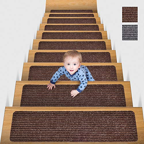 MBIGM 20cm X 65cm (Paquete de 15) Alfombras Antideslizantes Peldaños de Escalera Alfombrilla Antideslizante Interior para niños Mayores y Mascotas con Adhesivo Reutilizable, Marrón 🔥