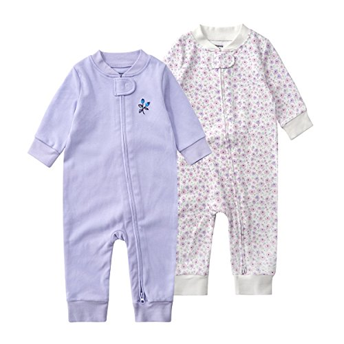 Teach Leanbh Baby 2-Pack 100% Cotton Romper Jumpsuits Two Way Zipper Long Sleeve Footless Sleep and Play (0-2T) (12-18 Months, Purple Floral)