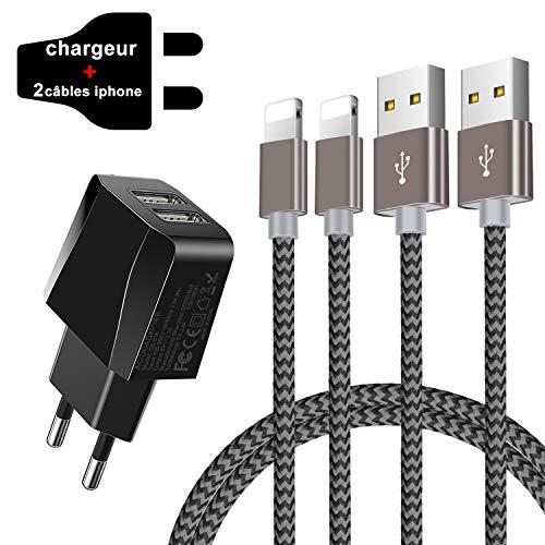 Zeuste USB Ladegerät mit 2 * 1.5M Phone Ladekabel USB Kabel für Phone SE/11/XS/X/XR/Max/8/8Plus/7/7Plus/6 Plus/6/5/5S/6s,Pad Mini/Air,Pod(Grau)