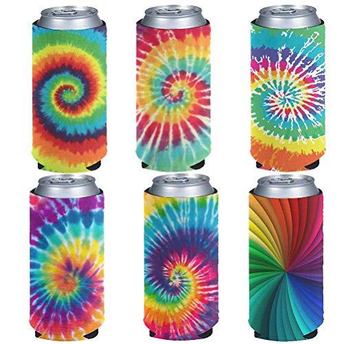 chaqlin 6 piezas arco iris Tie Dye neopreno lata bebidas botella enfriadores titular mujer mujer novedad regalos ajustados cerveza helado café energía bebidas aisladas puede enfriar mangas