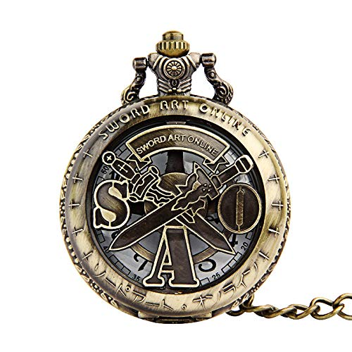 HELBOD Reloj de Bolsillo Tema de Sword Art Online Hot Anime Hollow Quartz Pocket Watch Hombres Mujeres Doble Espada Patrón Collar Regalo, Bronce