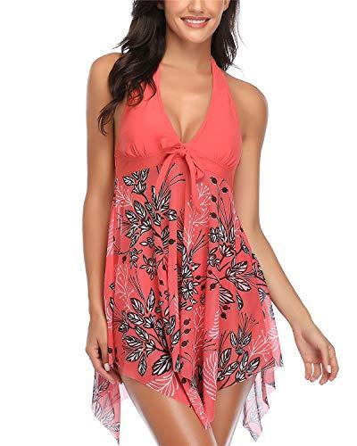 Temptme Women Swimsuits Orange Two Piece Mesh Tankini Swimdress V Neck Halter Bathing Suits