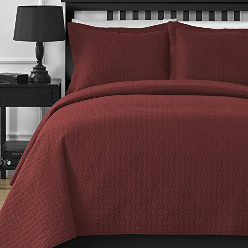 Comfy Bedding Extra Lightweight Modern Wireless Thermal Pressing Frame Quilted 3Piece Coverlet Set King/Cal King Orange