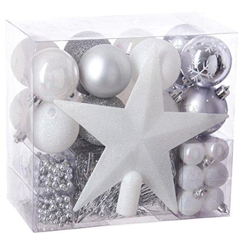 Lote de navidad - Kit 44 piezas para decorar árbol: Guirnaldas, Bolas y Estrella cima - Tema color: Blanco,Parma y Gris Plata