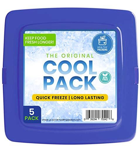 [New] Cool Pack, slim e riutilizzabile Ice Pack for lunch box–congelatore Cold Packs per borsa termica e pranzo–Original formula a lunga durata–(5pezzi), Color