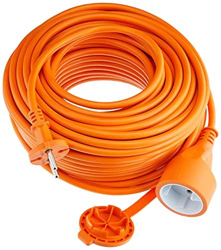 Electraline 1357 Prolunga Giardino 30 mt Spina e Presa Europea 2 Poli Adatta per elettrodomestici da Giardinaggio-Sezione Cavo 2x1,5 mm², Arancione