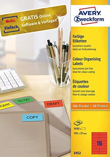 AVERY Zweckform 3452 Rote Etiketten (1.600 Aufkleber, 105x37mm auf A4, permanent haftende, selbstklebende Farbetiketten, Papier matt, bedruckbare, farbige Klebeetiketten) 100 Blatt