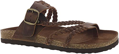 blanc MOUNTAIN chaussures Hayleigh Wohommes Sandal, marron Leather, 9 M