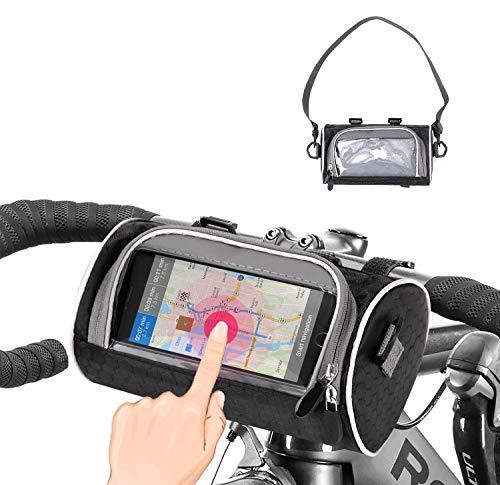 Waflyer Wasserdicht Fahrrad Rahmentasche Handyhalterung Fahrrad Tasche, Motorrad Fahrradtasche Rahmen mit TPU Touchscreen Lenkertasche Fahrradlenker für iPhone/für Samsung und Handy bis 6,5 Zoll