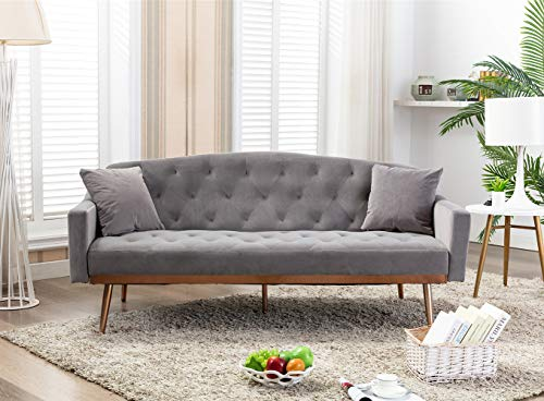 Velvet Futon Sofa Bed with Two Pillows, Modern Sleeper Sofa Couch with 2 Adjustable Angles, Convertible Loveseat for Living Room and Bedroom, Grey