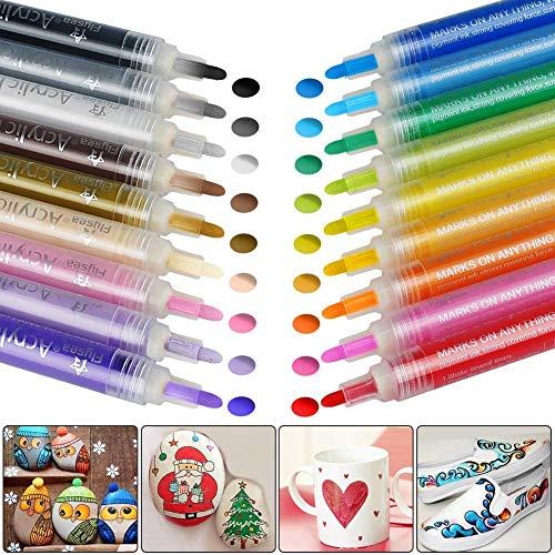 COSANSYS Marker Stifte Set Kinder Acrylstifte Marker Stifte Filzstifte18 Farben Premium Wasserfest Paint Marker Set Permanent Art Filzstift für DIY Stein, Leinwand usw