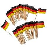EElabper 100pcs Papier Deutschland Flagge Picks Mini Obst Lebensmittel Zahnstocher Sticks Flagge