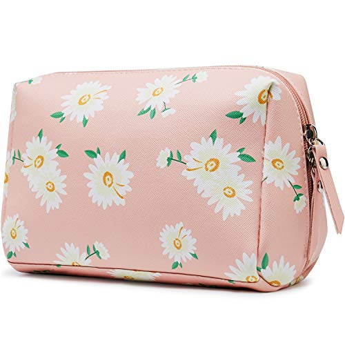 Large Vegan Leather Makeup Bag Zipper Pouch Travel Cosmetic Organizer for Women and Girls (Large, Multiple Pink Daisy)