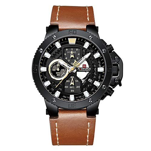 Sport Watches for Men Waterproof Luxury Watch Chronograph Quartz Leather Business Date Clock Wristwatch