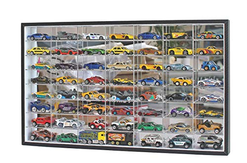 1:64 Scale Toy Cars Matchbox Wheels Diecast Display Case Wall Cabinet Rack 56 Compartment Hot-( 24.61 x 13.78 x 2.05 inches) (NO Door)