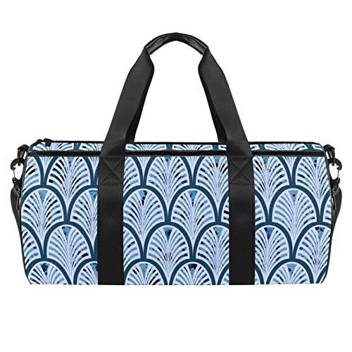 ASDFSD Seesack, Sport-Strandtasche mit verstellbarem Schultergurt, Taschen und Reißverschluss für Sportausrüstung, Sportbälle und Wassersport, blauer Halbkreis