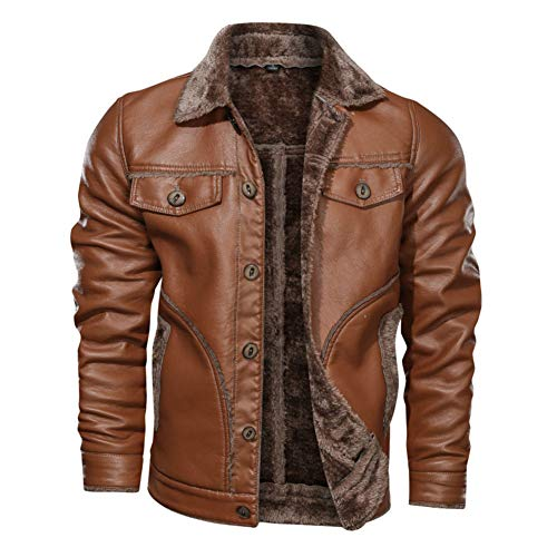 Mens Flying Leather Jacket, Winter Warm Bomber Jacket with Buttons Vintage Fur Collar Aviator Pilot Jacket,Brown-6XL