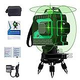 Kreuzlinienlaser Selbstnivellierend Linienlaser grüner Laser - 15M ± 0,2 mm/m, IP54 Staub & Wasserschutz Vertikale Horizontale Laser Wasserwaage inkl 2 Batterien & Schutztasche