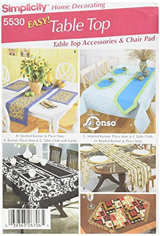 Simplicity Chair Cushions, Tablecloth, Place Mats, Runners, and Napkins Sewing Pattern Set, One Size